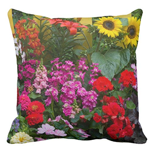 Fence with Flower Garden in Kissenbezug Pillow Case Cushion Cover 18 x 18 inches ()