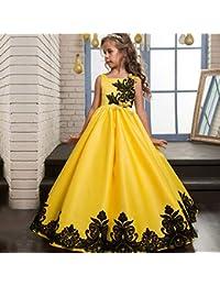 Vestido de Fiesta de los niños Princesa Fiesta Vestido de Novia Chicas de Encaje de Manga Corta Pétalos de Encaje Falda mullida Chicas Vestido de Boda Flor Ropa para niños (tamaño : 6-7T)