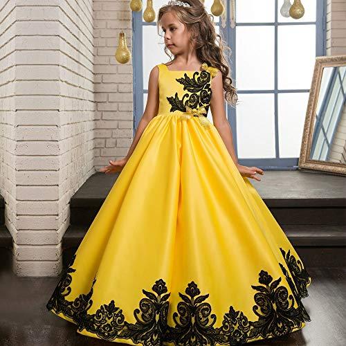 YuFLangel Mädchen Party Kleider Hochzeitskleid Mädchen Spitze kurzärmelige Blütenblätter Spitze Flauschige Rock Mädchen Hochzeit Kleid Blume Kinderkleidung Blumenmädchen Kleid (Größe : 6-7T)