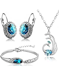 Valentine Gift by Shining Diva Blue Crystal Combo Jewellery of Necklace Set / Pendant Set With Earrings & Bracelet For Women & Girls