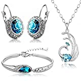 Valentine Gift by Shining Diva Blue Crystal Combo Jewellery of Necklace Set/Pendant Set with Earrings & Bracelet for Women & Girls (Silver)