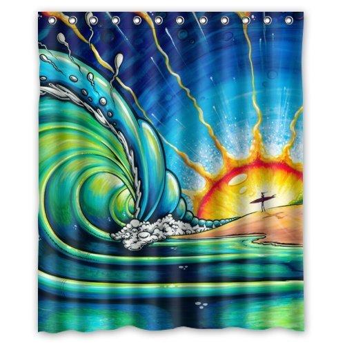 CHATAE 152,4cm (Breite) X 182,9cm (Höhe) (bunt Malerei Sun Surf Art Wave Südafrika) Vorhang für die Dusche Special Wasser Proof Antifungal Beschichtung, maschinenwaschbar