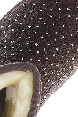 Bottes velours ornées de strass Marron