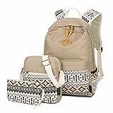 3 Teiliges Schultaschen-Set Canvas Schulrucksack + Umhängetasche + Mäppchen für Mädchen Damen Jugendliche (Khaki)