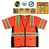 KwikSafety Class 3 High Visibility Deluxe ANSI Reflective Safety Vest with Black Trims, Multiple Pockets, and iPocket - Mobile Device and ID Holder Safety Vests, Orange Safety Vest, Size Large/XL by KwikSafety