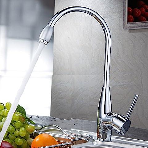 Chaud/froid Chrome Mélangeur à deux trous, l'eau du bassin du robinet évier de lavage Robinet de cuisine Poignée BBHYY