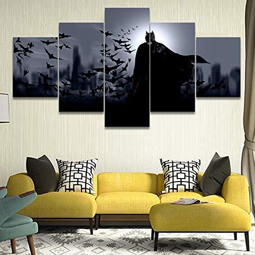 LAKHAFZY Batman-Film 5 Stücke Leinwände Wand Kunst Poster Zuhause Dekor Malerei HD Drucken Gedruckt Modern Home Decor Bilder