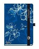 Castelli Lanybook Sparkling Flowers - Bloc de notas (lineado, A6, con cinta negra de cierre), diseño de flores, color azul