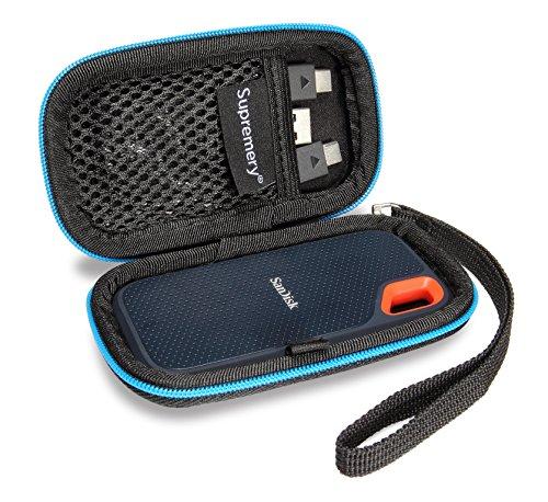 Supremery Tasche für SanDisk Extreme Portable SSD Festplatten Case Schutz-Hülle Etui Festplattentasche/HDD Case - für 2.5 Zoll Festplatten und SSD
