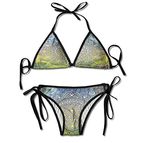 Hot Summer Women's Bikini,Culture Chakra Karma Calmness Sexy Bikini 2 Pieces