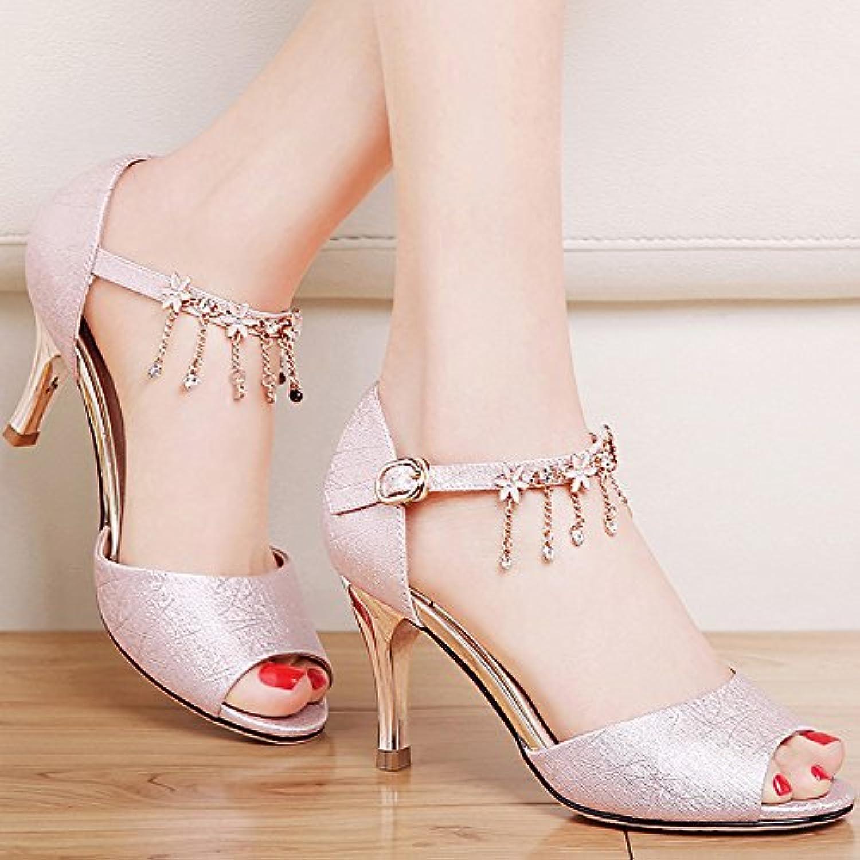LGK&FA Verano sandalias de mujeres bellas con sandalias en verano con cuero All-Match palabra hebilla zapatos... -