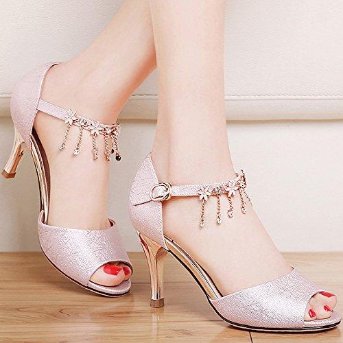 Estate moda donna sandali comodi tacchi alti,40 viola Pink