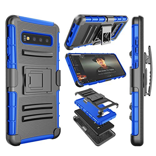 Njjex Galaxy S10 Case, Njjex Samsung Galaxy S10 2019 Holster Clip, [Ngate]  Armor Defender Locking Swivel Belt Clip Kickstand Heavy Duty Full Body