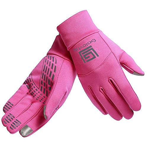 HTTOAR Damen-Radhandschuhe, Warmer Winter, wasserdichte verstellbare Outdoor-Radhandschuhe (Pink, M)