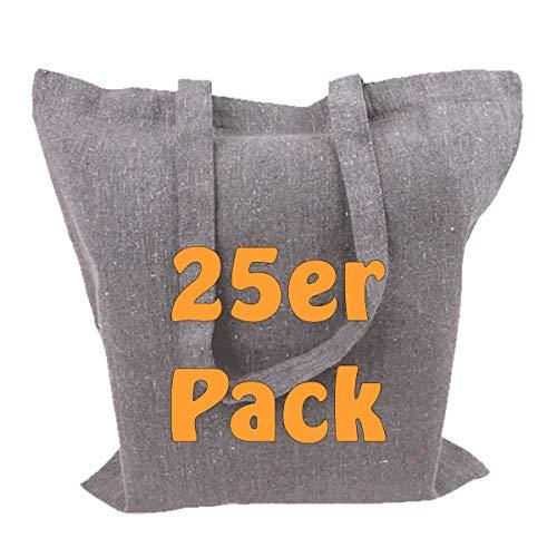 Cottonbagjoe Recyclingtasche aus recycelter Baumwolle Öko - Einkaufstasche robust mit dickem Stoff und Langen Henkeln (Grau, 25 Stück)