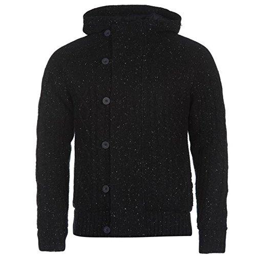 Firetrap foderato in maglia con zip intera Cardigna felpa con cappuccio uomo navy con cappuccio, Navy, M