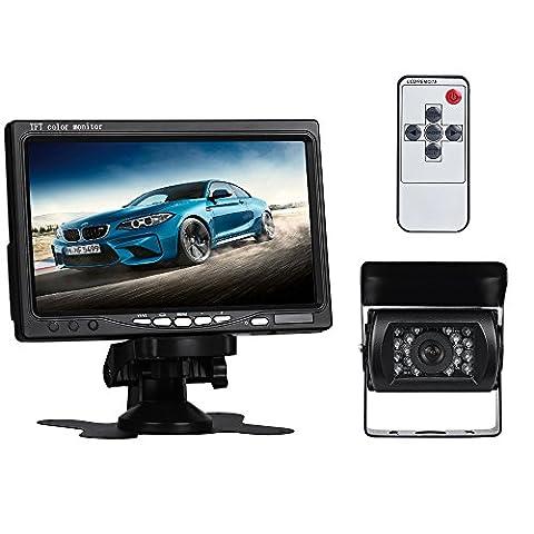 Truck Backup Camera and Monitor Kit,GOGO ROADLESS 18 LED Car Reverse Camera with 7 Inch LCD Night Vision IP68