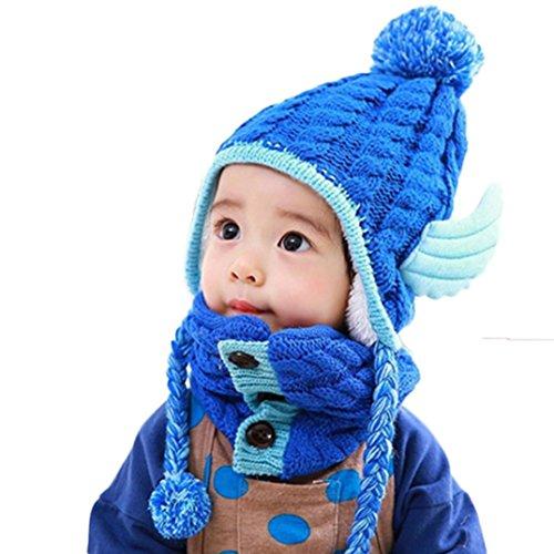 Babybekleidung Hüte & Mützen Winter-Baby-Engel-Form-Wolle-Hut + Schal Set Stricken Häkeln Kleinkind Kinder warme Mütze Beanie-Schal (Blue)
