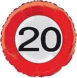 20. Geburtstag Folienballon Verkehrsschild Alter Party