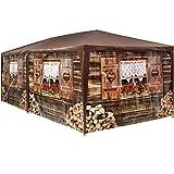 TecTake 402985 Pavillon Almhütte 3x6 m, 6 abnehmbare Seitenteile, Wasserabweisendes Material