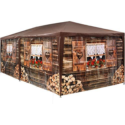 TecTake 402985 - Pavillon Almhütte 3x6 m, 6 abnehmbare Seitenteile, Wasserabweisendes Material