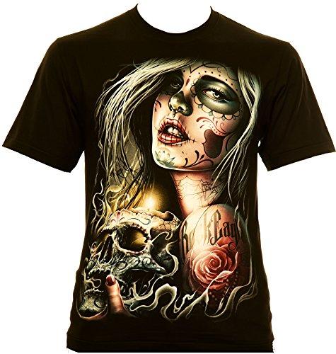 Blood-skull-t-shirt (Santa Muerte with Skull - Rock Eagle T-Shirt Catrina (XXXL))