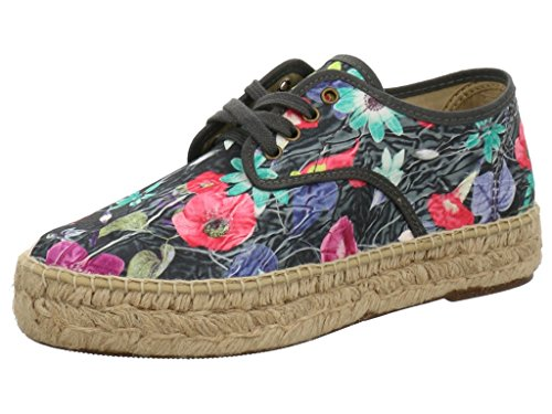 Natural World - eco friendly DAMEN PLATEAU-ESPADRILLES Schwarz