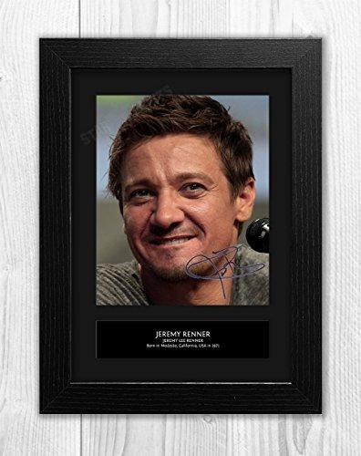 Star Prints UK Jeremy Renner-Hawkeye-Avengers 2mt-Signed Autograph Reproduktion Foto A4Print Schwarzer Rahmen