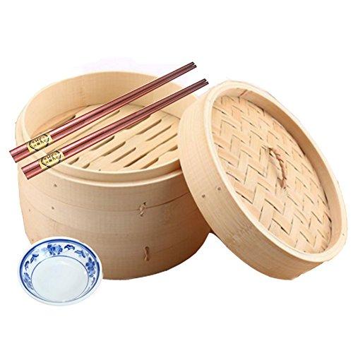 10-Inch 2 Tier Bamboo Steamer con equipaje de acero inoxidable, 2 pares de palos, 50 Wax Steamer Liners y 1 plato de salsa de soja de estilo chino.