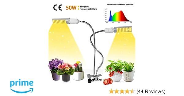 50w LED Plant Light, 100 LEDs Super Bright Sunlike Full Spectrum Grow Bulb  for Indoor Plants, 360° Gooseneck Plant Grow Lamp with Replaceable E27/E26
