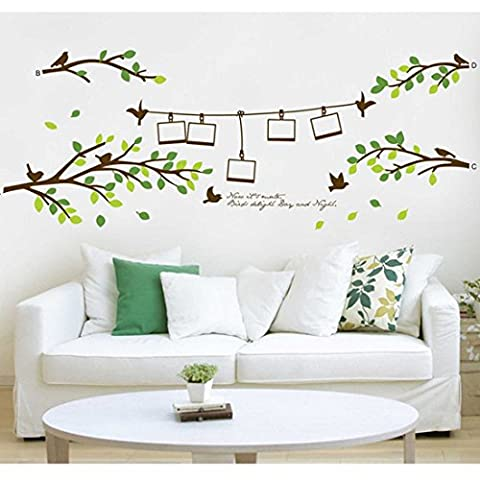 Birds Leaves Photo Frames Branches Wall Sticker Paper Home Decal Removable Wall Vinyl Living Room Bedroom PVC Art Picture Murals Waterproof DIY Stick for Adults Teems Childres Kids Nursery Baby