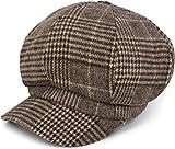 styleBREAKER Bakerboy Schirmmütze mit Glencheck Karo Muster, Ballonmütze, Newsboy Cap, Unisex 04023060, Farbe:Braun-Beige