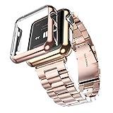 Apple Armbanduhr Band, fucool Edelstahl 3Punkte, Armband Handgelenk Band mit Schutzhülle für iWatch Apple Armbanduhr
