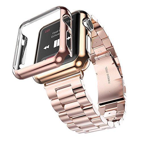 Reloj para Apple, de acero INOXIDABLE, 3 puntos Fucool - Malla para reloj pulsera - Carcasa de protección para Apple-iWatch