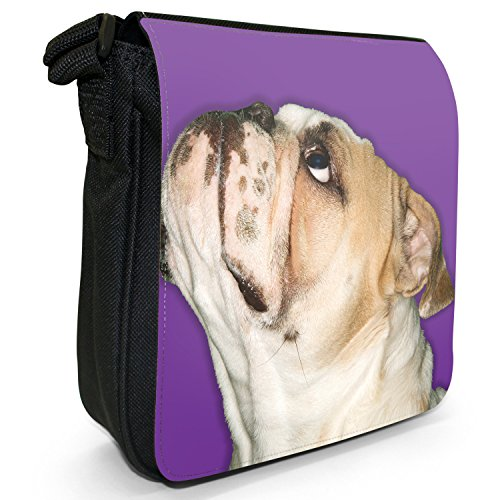 Close Up Of Bulldog Looking Up-Borsa da spalla in tela, piccola, colore: nero, taglia: S Purple Bulldog Looking Up