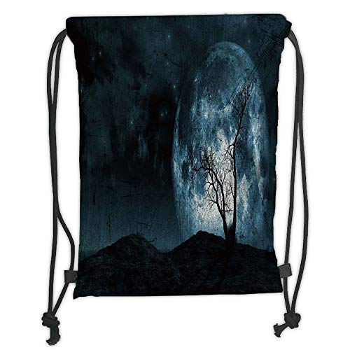 Fantasy,Night Moon Sky with Tree Silhouette Gothic Halloween Colors Scary Artsy Background,Slate Blue Soft Satin,5 Liter Capacity,Adjustable String Closur