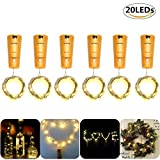 Ideas de Regalo para San Valentin Glückluz 6 PACK 20 LEDs Cadena de Luces Cable de Cobre Impermeable Luz de Hadas para Botella DIY Decoración del Partido Boda Árboles de Navidad Año Nuevo