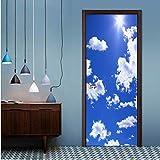 omybw PVC Selbstklebende Tür Aufkleber 3D Blauer Himmel Und Weiße Wolken Tapete Wohnzimmer Kinder Schlafzimmer Wohnkultur Paste Wandaufkleber 77 * 200 cm