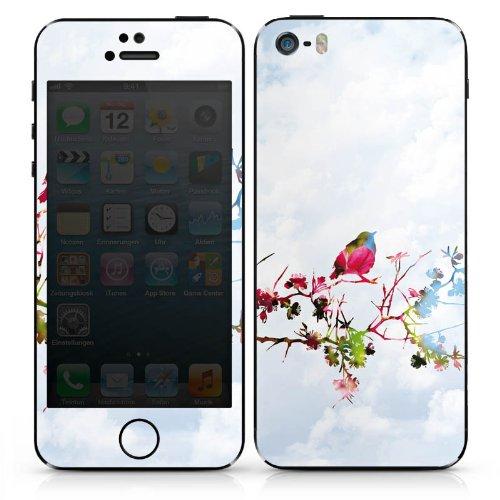 Apple iPhone 5 Case Skin Sticker aus Vinyl-Folie Aufkleber Vogel Spatz Ast DesignSkins® glänzend