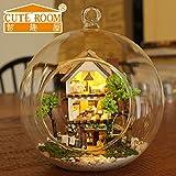DIY Kit de casa de muñecas en miniatura de artesanía de bola de cristal LED y control por voz y muebles
