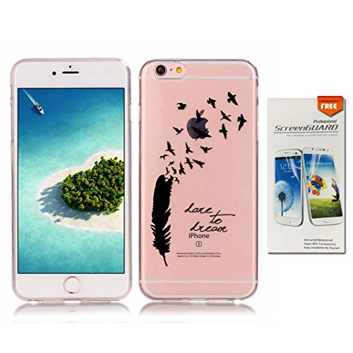 OuDu Cover Trasparente per iPhone 6/6S Custodia TPU Silicone Cassa Gomma Soft Silicone Case Clear Bumper Custodia Morbida Cover Ultra Sottile Leggero Custodia Flessibile Liscio Caso Anti Graffio Anti  Dare To Dream