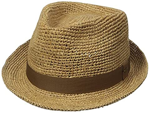 Scala Men's Crochet Raffia Fedora with Ribbon, Tea, Large/X-Large