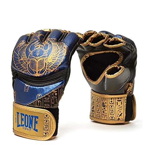 Leone 1947 Guanti MMA Ramses – Design Fresco nello Stile dell'antico Egitto – Guanti da Allenamento MMA Grappling Freefight con Air Cool Palmo, Uomo, GP113, Schwarz/Blau/Gold, L