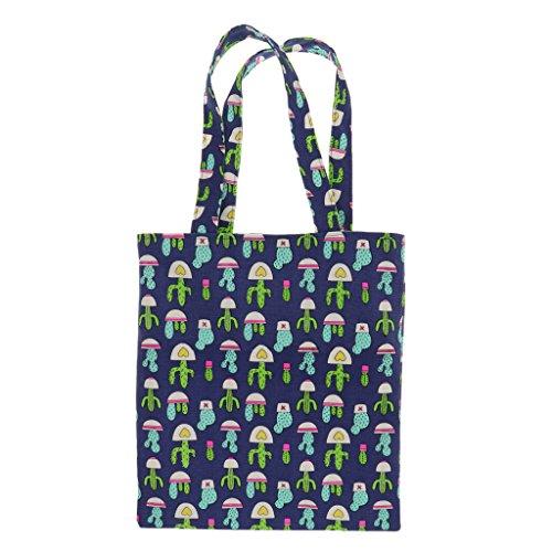 MagiDeal Kaktus Muster Baumwolltasche Jutebeutel Tragetasche mit langen Henkeln - Farbe 3