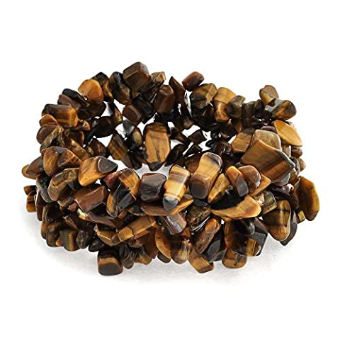 Bling Jewelry véritable Tiger Eye gemmifères puces chunky Stretch Bracelet