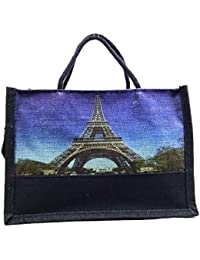 Sankh 13x5.5x9.5 Inch Paris Effil Tower Jute Bag-Jute Printed Fashion Shoppers Bags