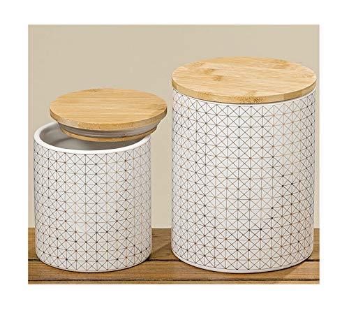 Boltze Home Collections Vorratsdosen Set mit Holzdeckel weiß Gold Gemustert 2er Set
