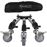 Ravelli ATD Dolly - Base de trípode profesional con ruedas para cámeras foto y video y bolsa de transporte