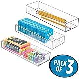 mDesign Set da 3 Portaposate da cassetto – Portaoggetti da ufficio per cassetti e armadi – Organizer cucina per utensili da cucina, posate e molto altro – trasparente