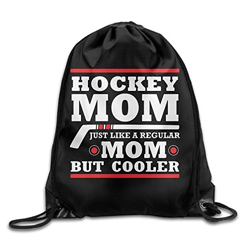 Funny&shirt Hockey Mom Just Like A Regular Mom Drawstring Pack Beam Mouth Sport Bag Rucksack Shoulder Bags for Men & Women - Hockey Mom-shirt